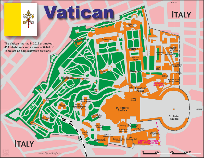 Map Vatican City - Administrative division - Population density 2020