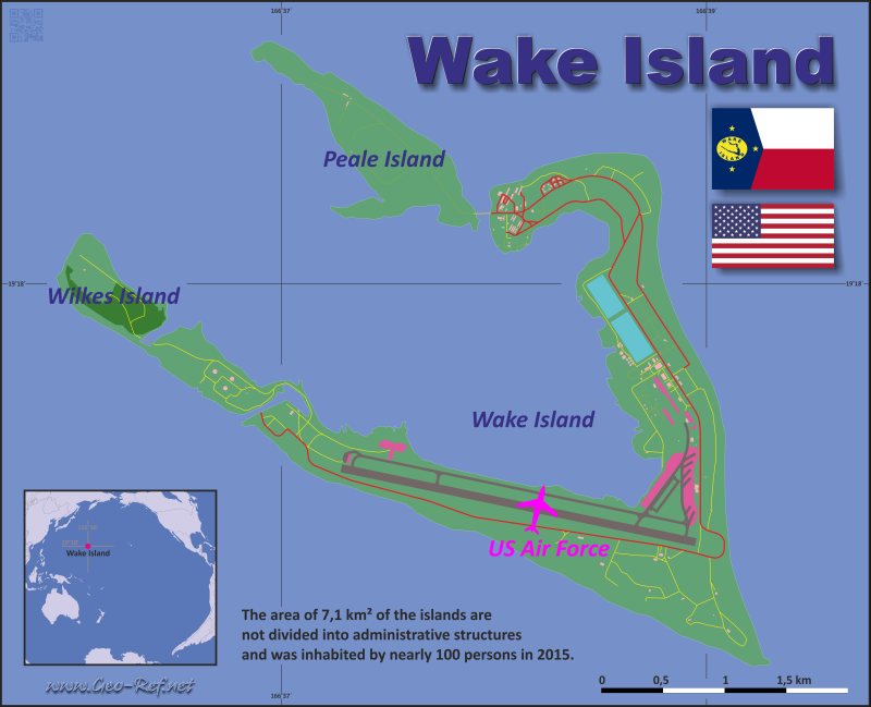 Map Wake Island - Administrative division - Population density 2017