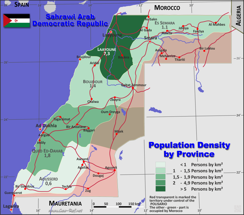 Map Sahrawi Arab Republic - Administrative division - Population density 2020