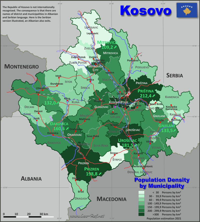 Map Kosovo - Administrative division - Population density 2019