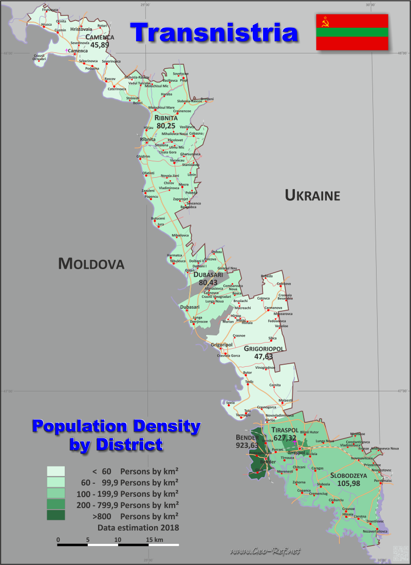 Map Transnistria - Administrative division - Population density 2018