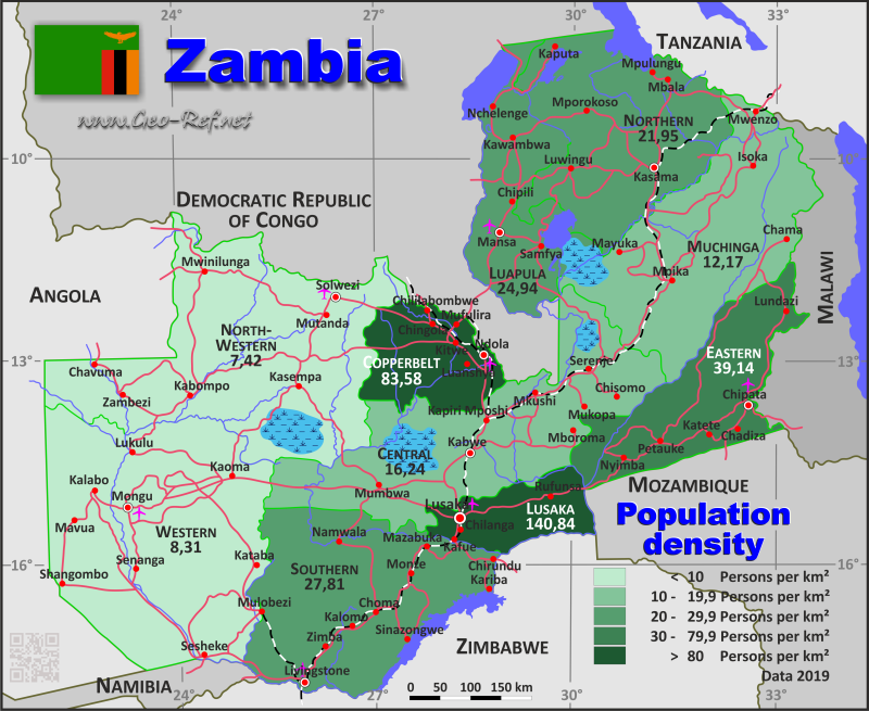 Map Zambia - Administrative division - Population density 2019