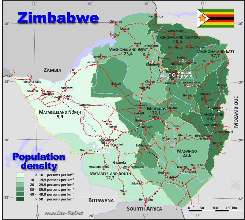 Map Zimbabwe - Population density