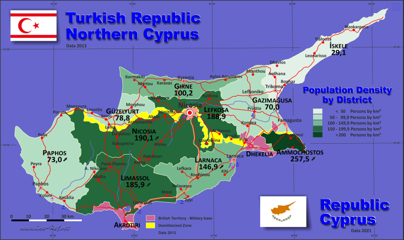 Cyprus Country data links and maps of the population density by